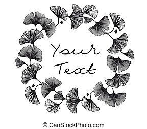 elegant, bladeren, leaves., wallpaper., ginkgo, behang, logos, vector, yellow-gold, schitteren, illustratie, abstract ontwerp, seamless, black , textiel, biloba., weefsel