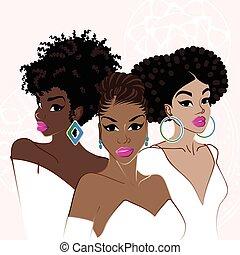 elegant, donkere-gevilde, drie vrouwen