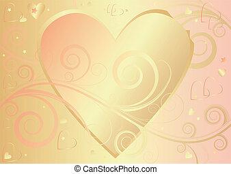 elegant, hart, achtergrond, (vector), valentijn
