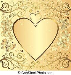 elegant, valentijn, achtergrond, gouden