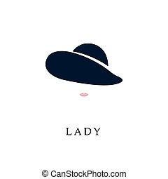 elegant, vrouw, hat.