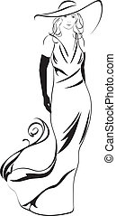 elegant, vrouw, silhouette