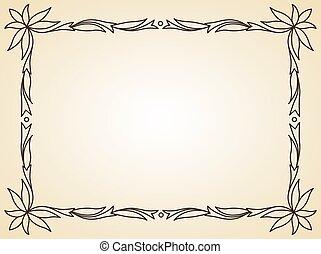 element., rechthoek, standaard, decoratief ontwerp, grens, afmetingen, of, ouderwetse , achtergrond., frame, sierlijk, calligraph