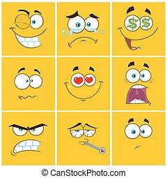 emoticons, plein, verzameling, set, gele, uitdrukking, spotprent, 1.