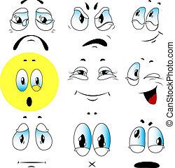 emoties, set, vector