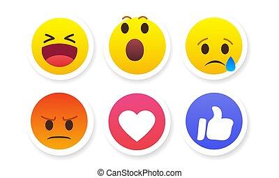 emoties, vector, illustratie, stickers, set