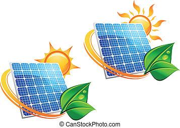 energie, paneel, zonne, iconen