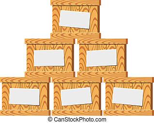 enigszins, illustratie, houten, vector, crates.
