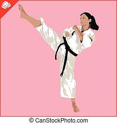eps., karate, vrouw, silhouette, scene., krijgshaftig, vector., arts., vechter