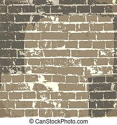 eps10, muur, message., vector, achtergrond, grunge, baksteen, jouw