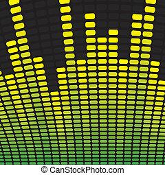 equalizer, groene, muziek, achtergrond, gele