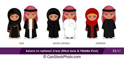 ethnische , arabië, jordan., nationale, aziaat, costume., saoediër, set, traditionele , dress., uae, mensen, mannen, vervelend, vrouwen