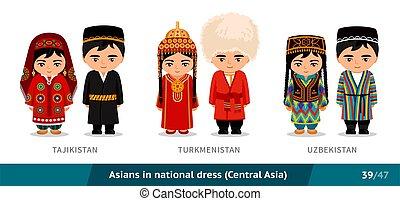 ethnische , characters., vrijstaand, nationale, costume., aziaat, set, spotprent, traditionele , vrouwen, uzbekistan., dress., mensen, mannen, turkmenistan, vervelend, tajikistan