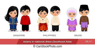 ethnische , filippijnen, singapore, nationale, brunei., costume., set, traditionele , dress., aziatische mensen, mannen, vervelend, vrouwen