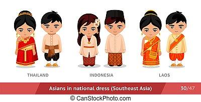 ethnische , laos., thailand, nationale, costume., set, traditionele , dress., aziatische mensen, mannen, vervelend, vrouwen, indonesie