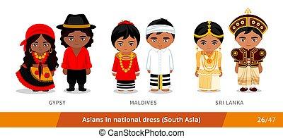 ethnische , malediven, zigeuner, nationale, clothing., lanka., set, dress., aziatische mensen, sri, mannen, vervelend, vrouwen
