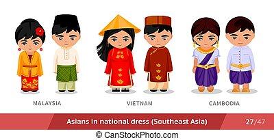 ethnische , maleisië, nationale, costume., set, traditionele , dress., aziatische mensen, mannen, vervelend, cambodia., vrouwen, vietnam