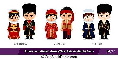 ethnische , nationale, azerbaijan, georgia., armenië, costume., set, traditionele , dress., aziatische mensen, mannen, vervelend, vrouwen
