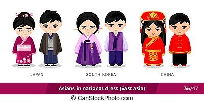 ethnische , nationale, costume., zuiden, set, korea, traditionele , dress., aziaat, japan, mensen, mannen, china., vervelend, vrouwen