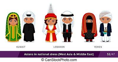 ethnische , nationale, libanon, costume., set, koeweit, traditionele , dress., aziaat, yemen., mensen, mannen, vervelend, vrouwen