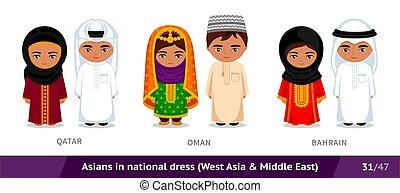 ethnische , oman, bahrain., characters., vrijstaand, vervelend, nationale, costume., aziaat, set, spotprent, traditionele , dress., mensen, mannen, qatar, vrouwen