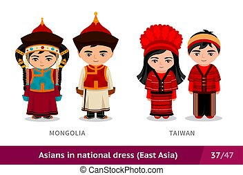 ethnische , taiwan., nationale, costume., set, traditionele , dress., aziaat, mongolië, mensen, mannen, vervelend, vrouwen