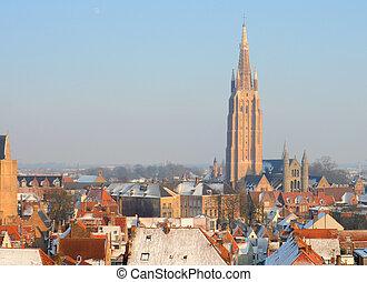 europa, winter, daken, brugge, vlaanderen, kerk, ons, belgie, dame