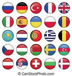 europees verslapt, ronde, iconen