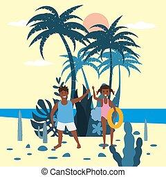 exotische , plat, kinderen, strand., jongen, trend, poster, vrijstaand, moderne, rubber, planten, spotprent, palm, achtergrond, zee, vector, meisje, ring, oceaan
