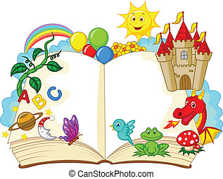 fantasie, spotprent, boek