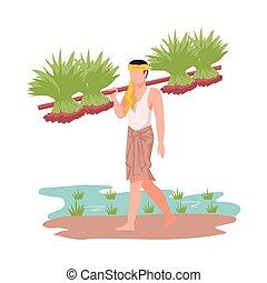 farmer, gewas, illustratie, landbouwkundig, verdragend, vector, aziatisch mannetje