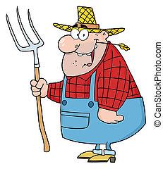 farmer, hark, man, verdragend