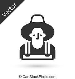 farmer, hoedje, grijze , pictogram, vector, vrijstaand, witte , achtergrond.