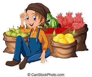 farmer, oogsten, zijn, jonge, vruchten