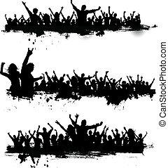 feestje, grunge, menigten