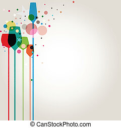 feestje, kleurrijke, dranken