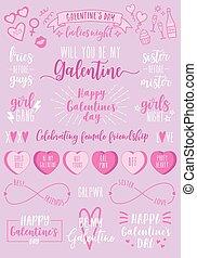 feestje, valentines, vector, vrouwlijk, dag, set, galentines, dag