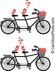 fiets, liefde, vector, vogels