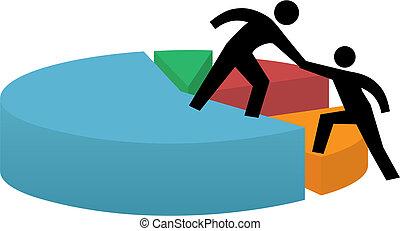 financieel succes, zakelijk, cirkeldiagram, portie hand
