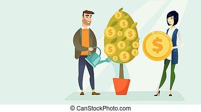 financieel, watering, jonge, boom., wite kaukasiër, man