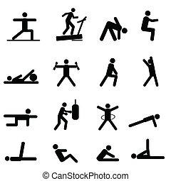 fitness oefening, iconen