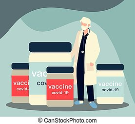 flessen, mannelijke , vaccin, vial, 19, covid, arts, senior