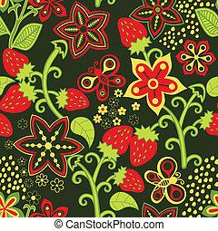 floral, aardbei, seamless, textuur