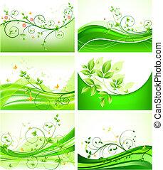 floral, abstract, set, achtergronden