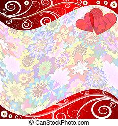 floral, achtergrond, valentijn