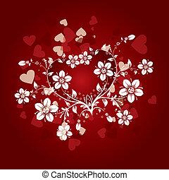 floral, achtergrond, vector, valentines