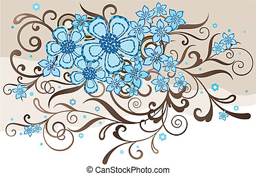 floral, bruine , turkoois, ontwerp
