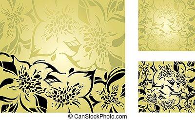 floral, decoratief, groene achtergrond