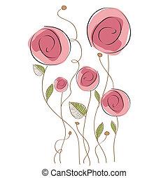 floral, delicaat, achtergrond