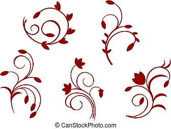 floral, eenvoud, decoraties